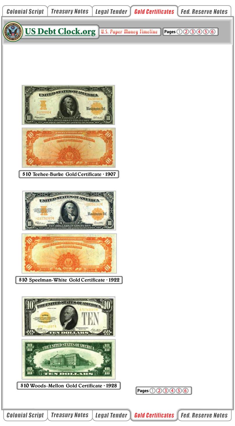 us paper money 10 dollar gold certificates 1922 1928