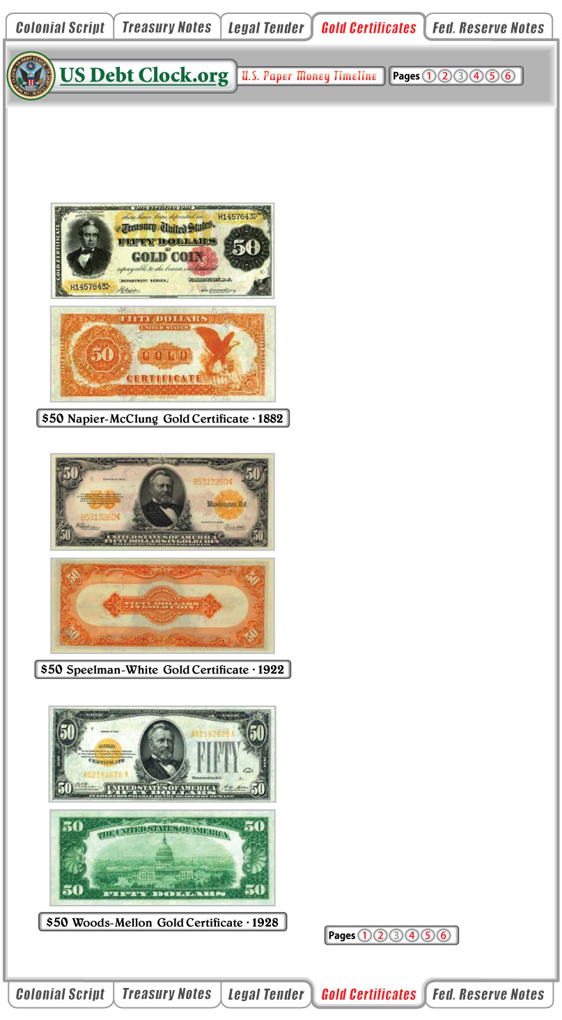 us paper money 50 dollar gold certificates 1882 1922 1928