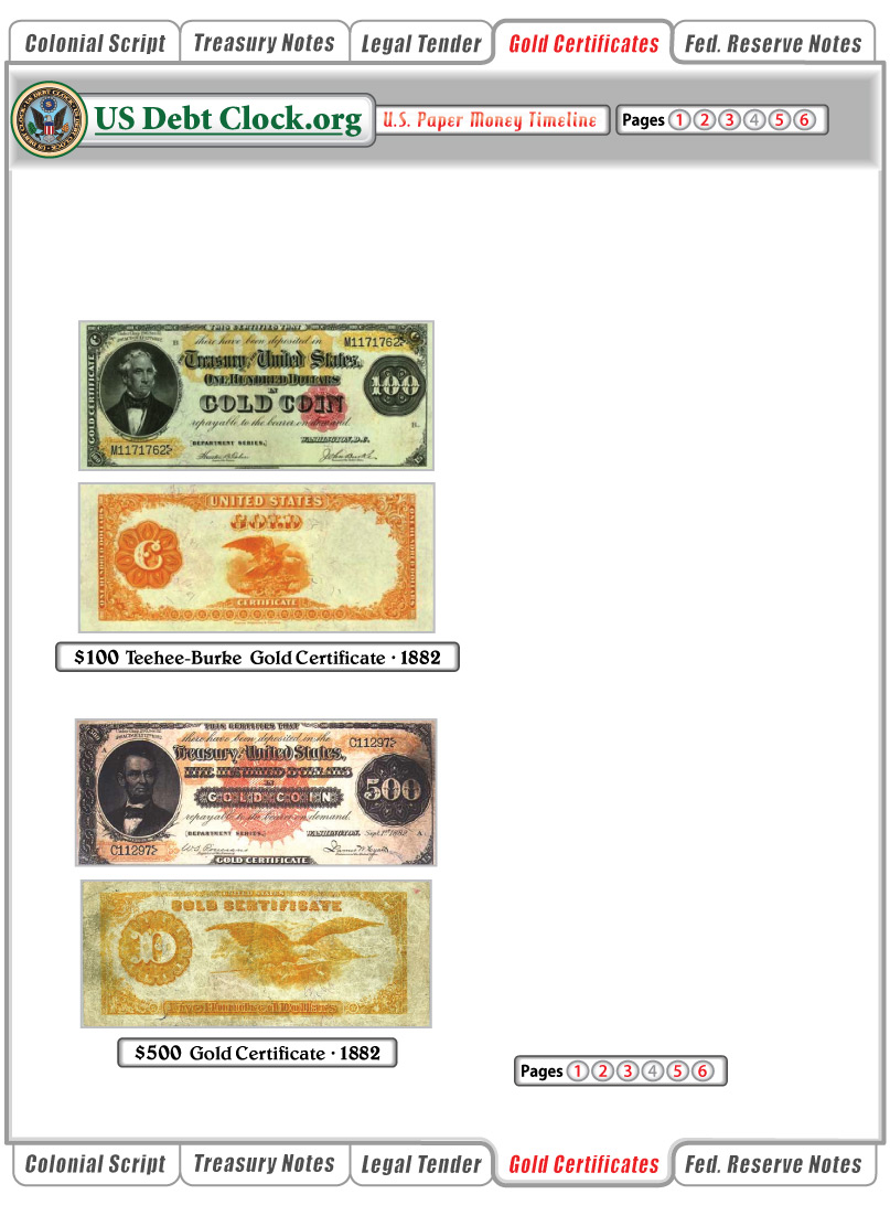 Us Paper Money 100 And 500 Dollar Gold Certificates 1882