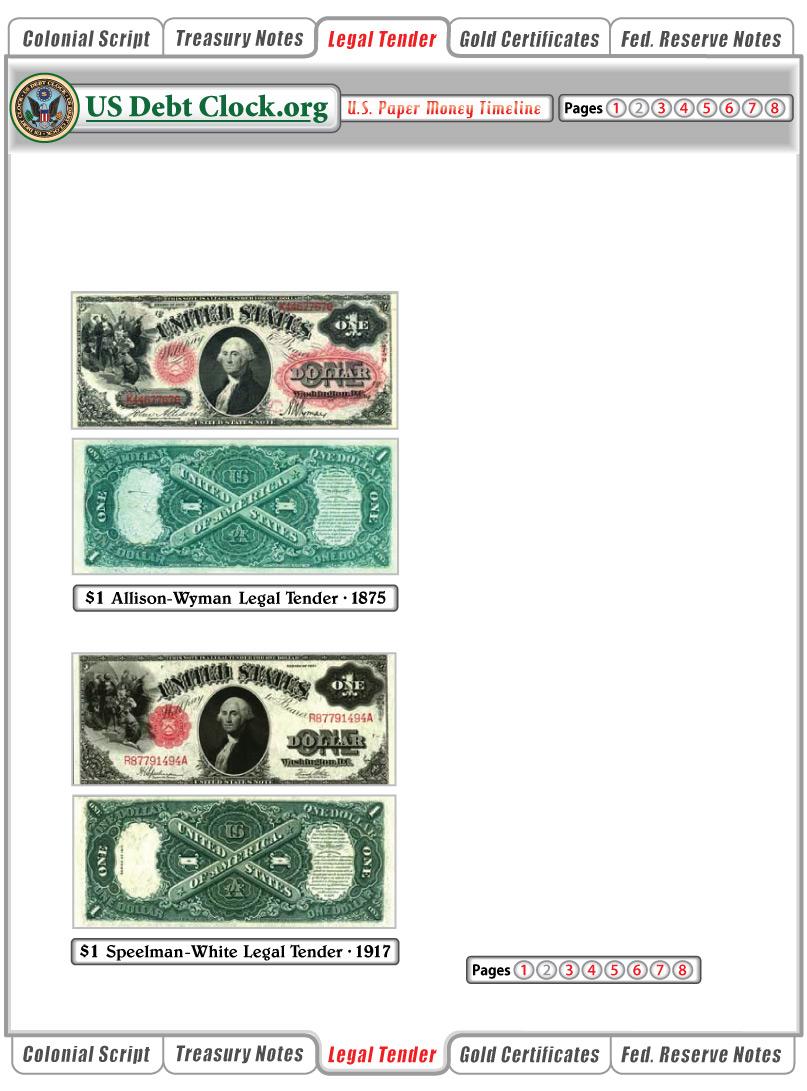 us paper money 1 dollar legal tender notes 1875 1917