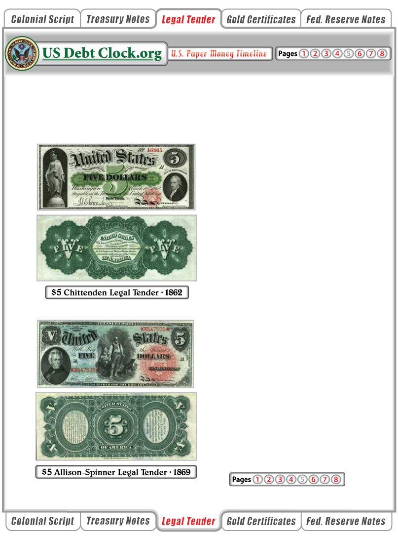us paper money 5 dollar legal tender notes 1862 1869
