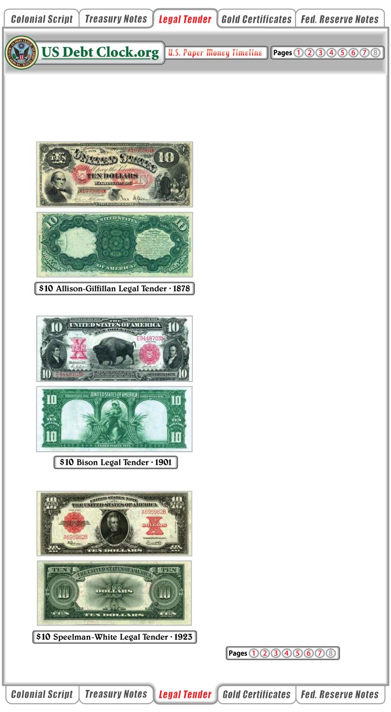 us paper money 10 dollar legal tender notes 1878 1901 1923